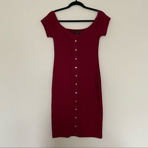F21 Ribbed Button Up Body Con Dress - 0X